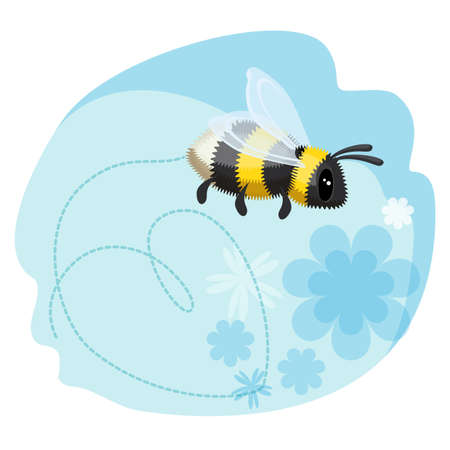 Cute bumblebee leaves trace in shape of heart, blue background Illustration