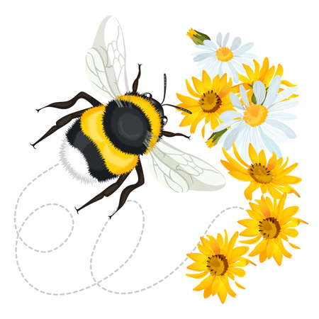 Bumblebee leaves trace swirled line on background with flowers Ilustracja