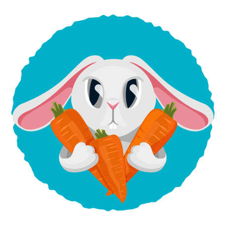 Long haired rabbit holding carrot in two paws vector illustration