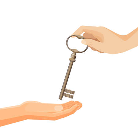 Process of passing keys from hand to hand vector illustration