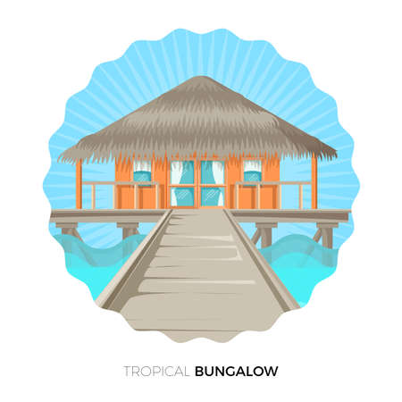 residential homes: Tropical bungalow cottage house on water vector illustration icon