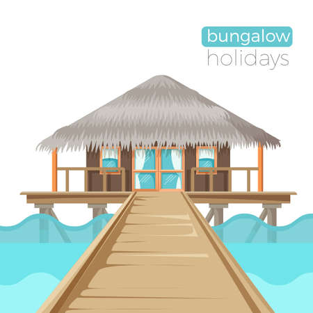 residential homes: Bungalow holidays advertisement poster with cottage house on water