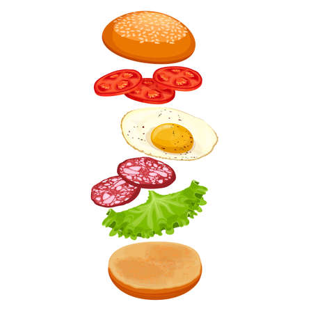 Burger with ingredients isolated on white. Crispy bun, green lettuce, fresh sausages, fried eggs and delicious tomatoes covered by loaf of bread with sesame vector