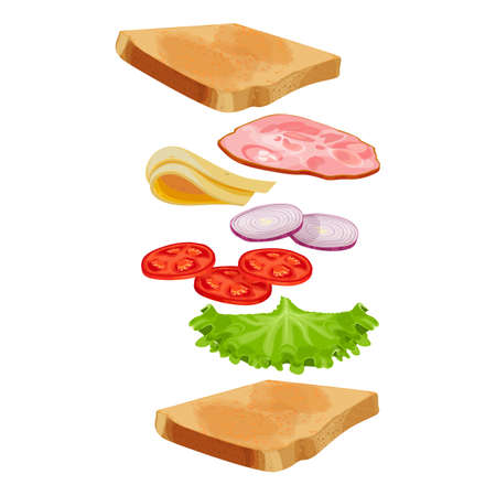 Toasted loaf of bread with lettuce salad, fresh tomatoes, round slices of onion, delicious cheese, bacon ham flying separated ingredients isolated on white background Illustration