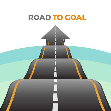 Road to goal abstract way from asphalt with marking vector Vettoriali