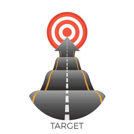 Obiettivo alla fine della strada accidentata che va al vettore obiettivo Vettoriali