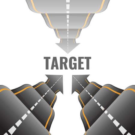 Three 3d bumpy roads going to target vector illustrations Illusztráció