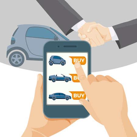 Compre carro on-line por meio de celular moderno. Ilustración de vector