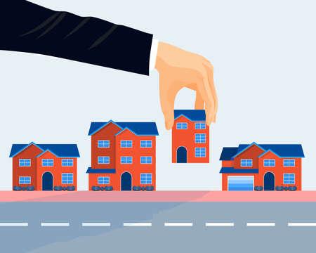Real estate business promotional poster vector illustration. Çizim