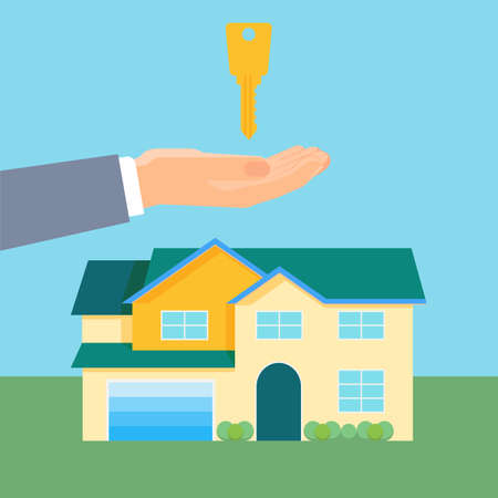 Property purchase promotional poster with cozy house and gold key