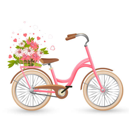 Pink bicycle with cart full of flowers and hearts vector Illustration