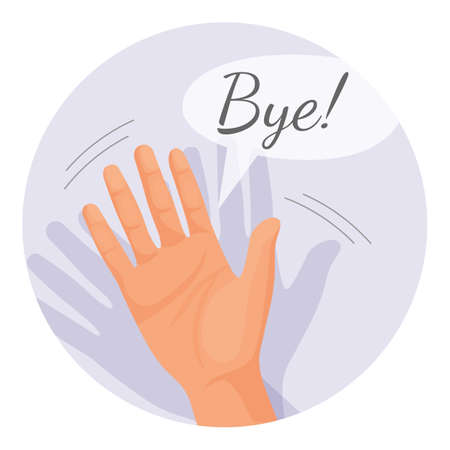 Hand waving goodbye vector illustration in round circle isolated