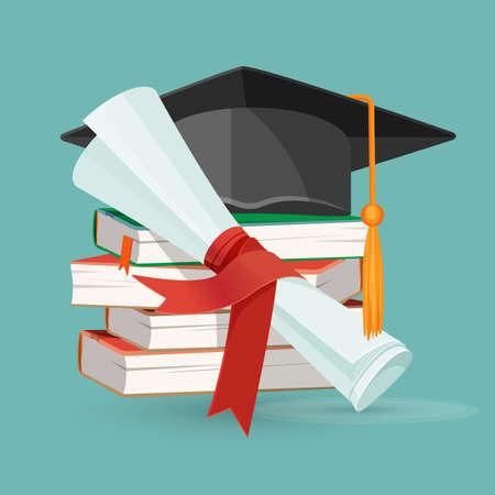 Degree scroll, pile of books and black graduation cap Ilustração