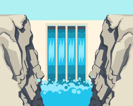 Dam barrière stopt of beperkt de stroming van water ondergrondse stromen Stock Illustratie