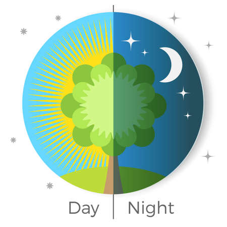 Day and night conceptual vector illustration depicted on Earth globe