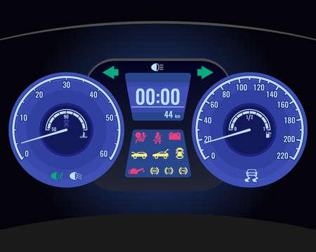 Dashboard instrument control panel or fascia realistic vector Illustration