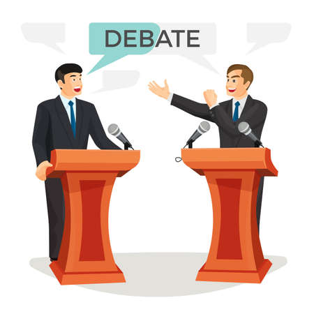 Debate poster with two politicians on vector illustration Illustration