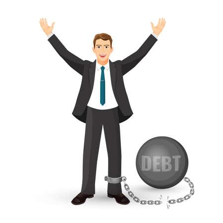 Debt free happy man in suit on vector illustration