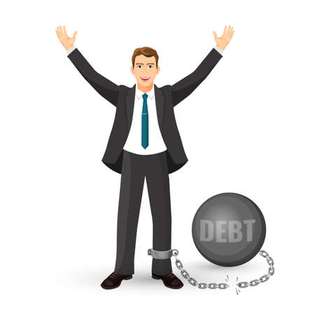 Debt free happy man in suit on vector illustration