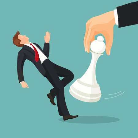 Pawn chess piece of smallest size and value beating businessman 向量圖像