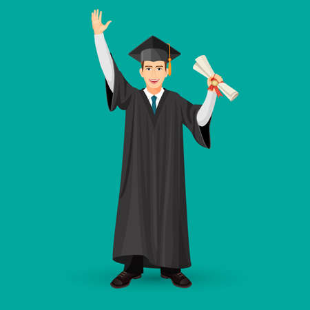 Degree graduate student in mantle gown holding graduation scroll