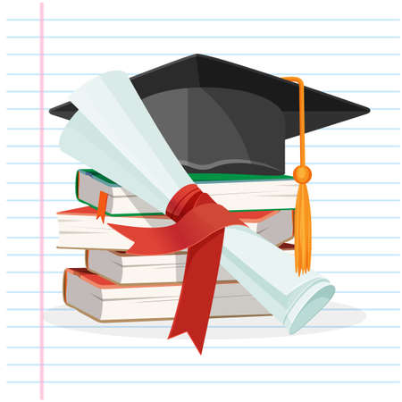 Degree scroll and graduation cap on background of linear piece of paper vector