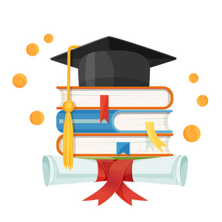 Mortarboard cap on piles of textbooks and diploma scroll isolated on white Illustration