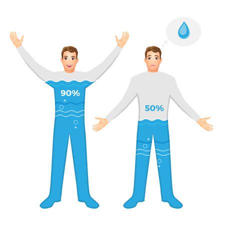 Water content percentage in human body. Levels of dehydration. Illustration