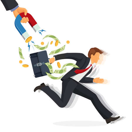 Hand with magnet attracting money from a man running away isolated illustration. Debt collector man concept Vectores