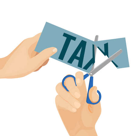 Tax poster with hands and scissors on vector illustration Illustration