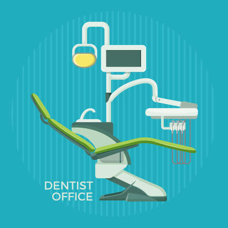 Dentist office promotional poster with special modern equipment