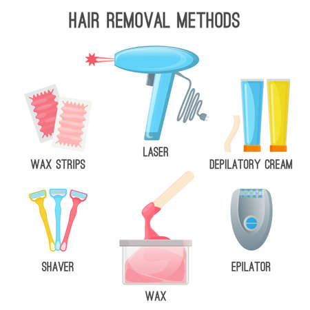 Hair removal methods set of icons on vector illustration