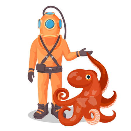Deep sea diver in pressure suit holds sea devil fish and octopus Stock Photo