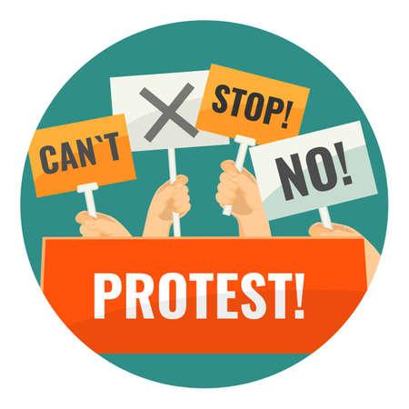 Mass protest with negative cardboard signs on sticks 版權商用圖片