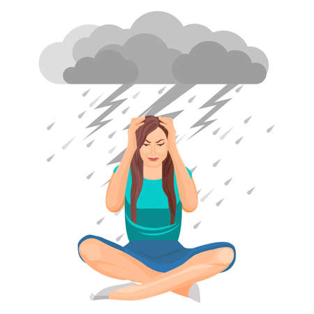 Depressed woman under cloud with lightning and rain vector illustration
