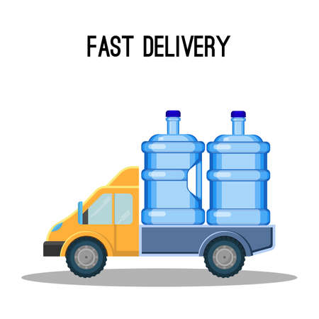 Fast delivery promo poster with trunk that carries water bottles