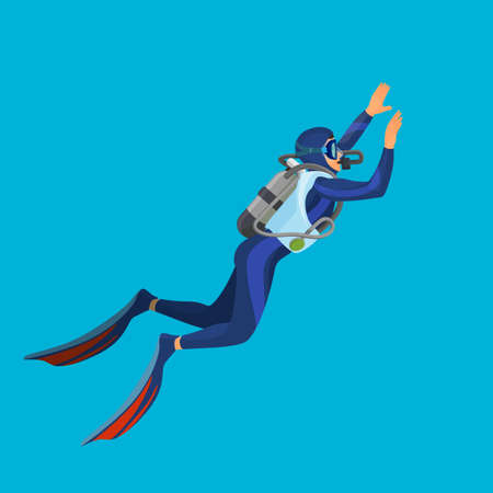 Deep sea diver with equipment on vector illustration