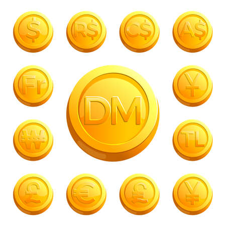 Gold shiny coins with money signs of various countries and huge deutsche mark in middle isolated cartoon vector illustrations on white background.