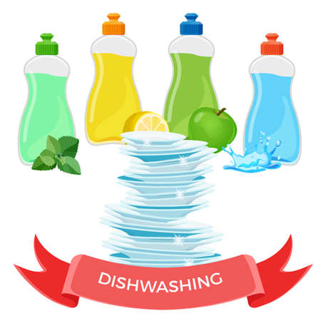 Dishwashing liquid means and pile of clean shiny dishes Illustration