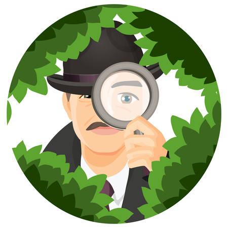 Detective with mustaches in retro hat and black coat hides in thick bushes with magnifier isolated cartoon flat vector illustration inside circle. Illustration