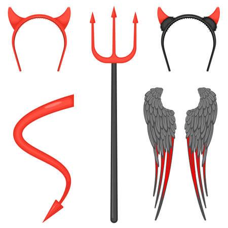 Hörner am Reifen, großer Dreizack, riesige Flügel mit grauen und roten Federn, langer Schwanz mit Pfeil am Ende. Teufelkostümzubehör-Vektorillustrationen eingestellt.