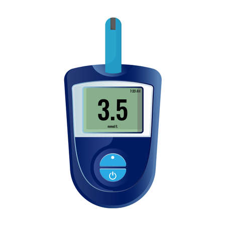 Modern electronic device that shows sugar level in human blood of those who have diabetes isolated cartoon vector illustration on white background.