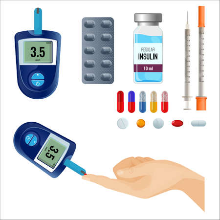 Device to measure sugar level, liquid medicines and pills for diabetes, empty syringe and human hand isolated cartoon flat vector illustrations set.