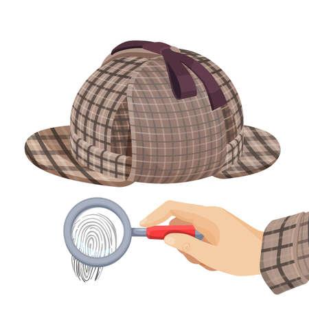 Vintage detective checkered hat and fingerprint under magnifier Illustration