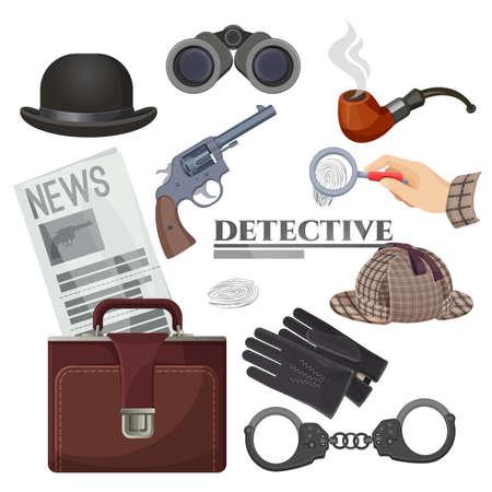 Professional retro detective accessories isolated cartoon illustrations set