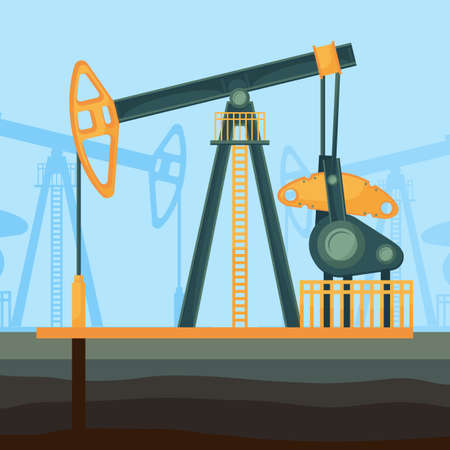 Big metal construction for oil extraction deep from soil