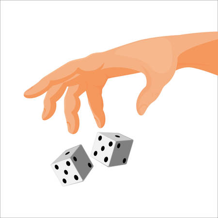 Human hand throws black and white dice isolated cartoon flat vector illustration. Gambling process with two cubes that show numbers combinations. Çizim