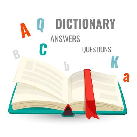 Woordenboek met alle antwoorden op vragen promo embleem Stock Illustratie
