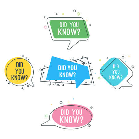 Did you know question on colorful stickers set Stock Illustratie