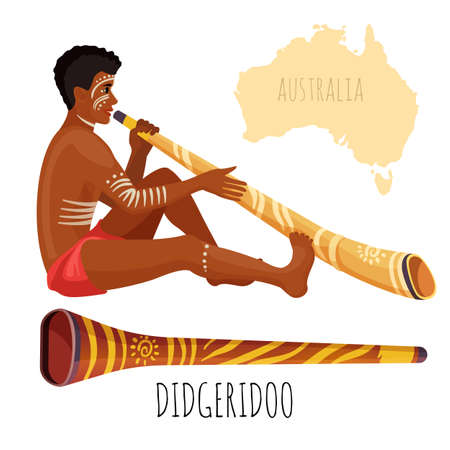 Swarthy man with white paint on face plays didgeridoo